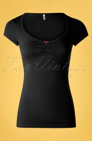 50s Logo Feminine Short Sleeve Top in Black