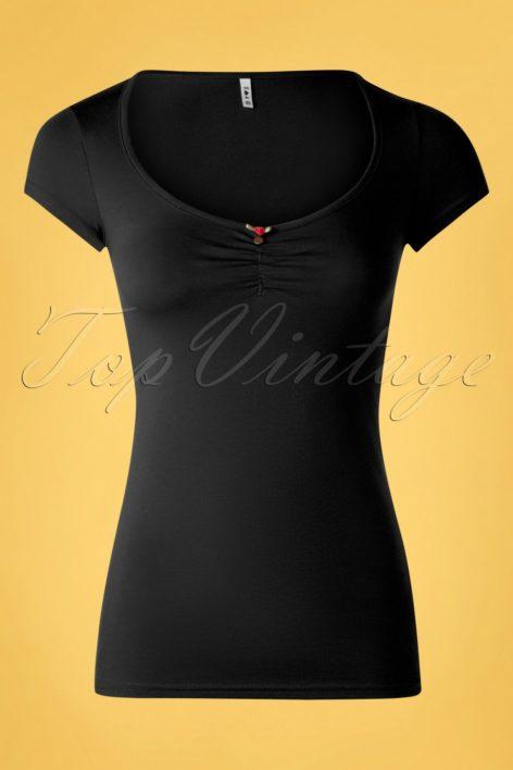 50s Logo Feminine Short Sleeve Top in Black