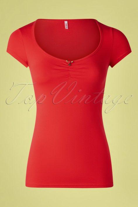 50s Logo Feminine Short Sleeve Top in Red