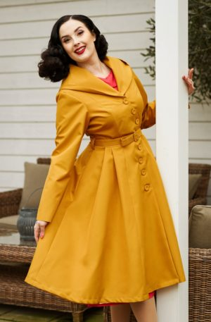 50s Lorin Sun Swing Trench Coat in Mustard