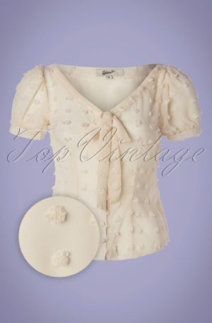 50s Lynda Dots Blouse in Cream