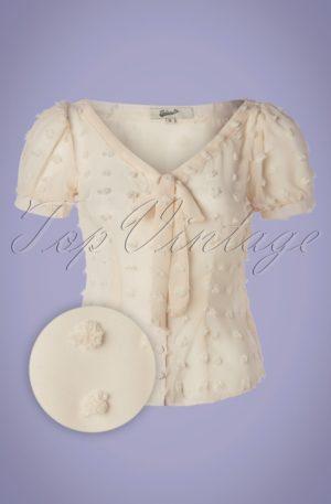 50s Lynda Dots Blouse in Cream