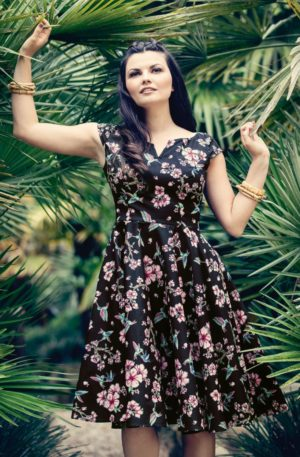 50s Madison Hummingbird Floral Swing Dress in Black