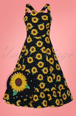 50s Maggie Sunflower Swing Dress in Black