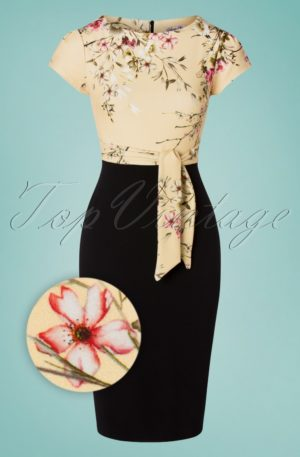 50s Maribelle Pencil Dress in Black