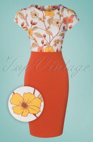 50s Maribelle Pencil Dress in Brick Orange
