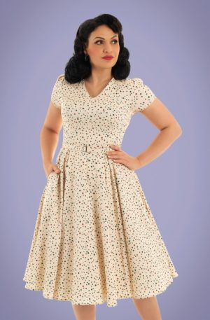 50s Marley Polkadot Swing Dress in Cream