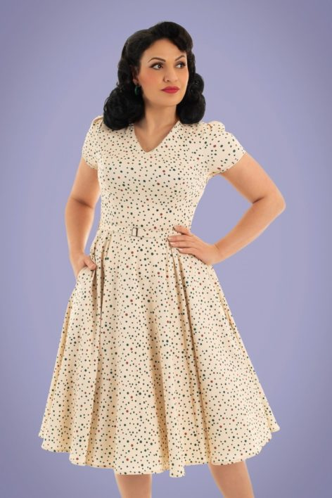 50s Marley Polkadot Swing Dress in Cream