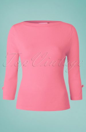 50s Modern Love Top in Pink