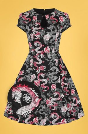 50s Mushu Dragon Swing Dress in Black