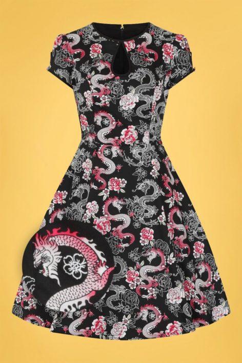 50s Mushu Dragon Swing Dress in Black