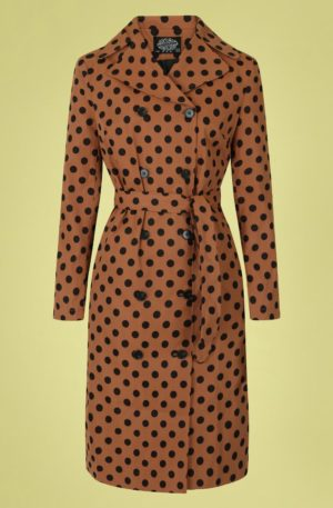 50s Nancy Polkadot Trench Coat in Brown