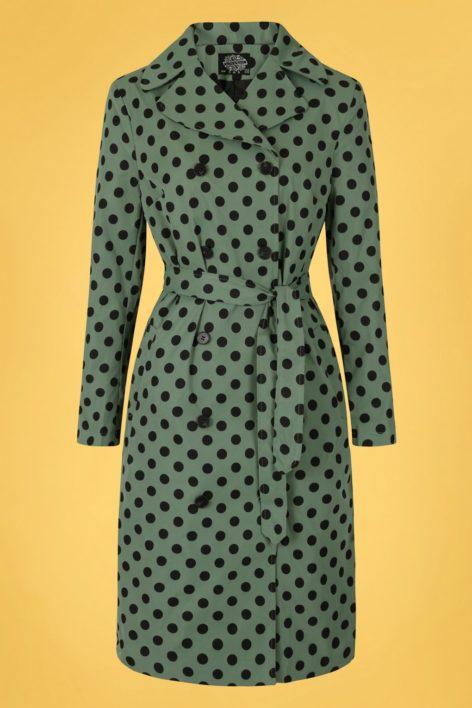 50s Nancy Polkadot Trench Coat in Green