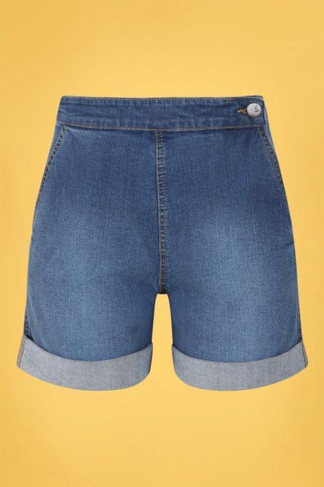 50s Nash Denim Shorts in Blue