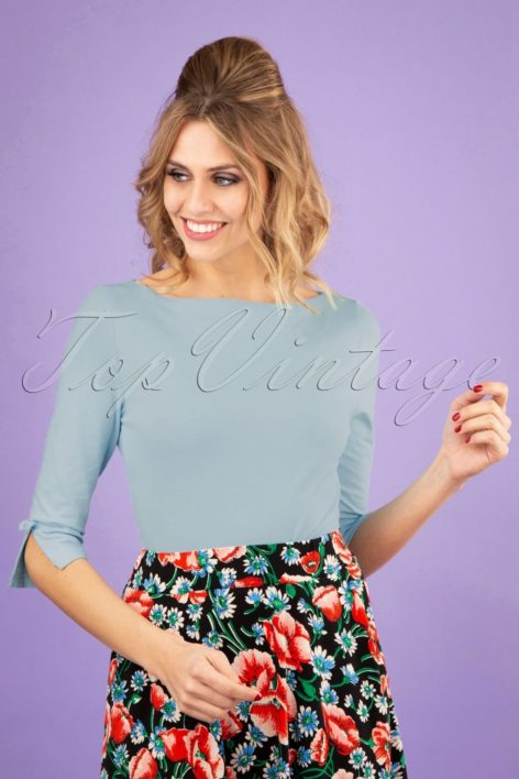 50s Oonagh Top in Light Blue