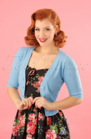 50s Overload Cardigan in Baby Blue