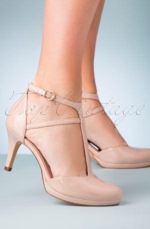 50s Paige Patent T-Strap Pumps in Nude