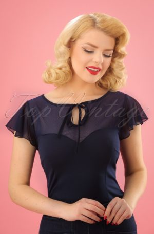 50s Pam Mesh Top in Navy