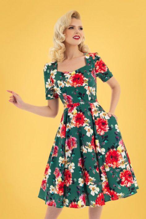 50s Pamela Floral Swing Dress in Green