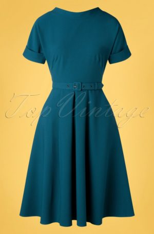 50s Pamy Swing Dress in Petrol Blue