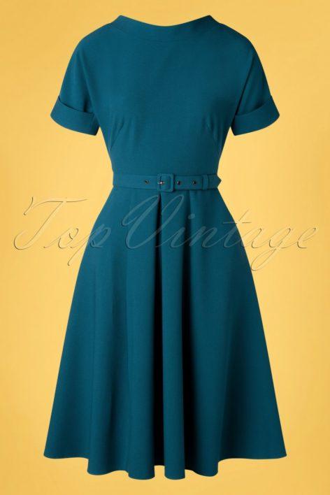50s Pamy Swing Dress in Petrol Blue