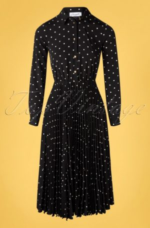 50s Penelope Polkadot Pleated Shirt Dress in Black