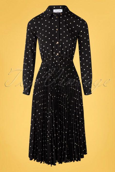 50s Penelope Polkadot Pleated Shirt Dress in Black