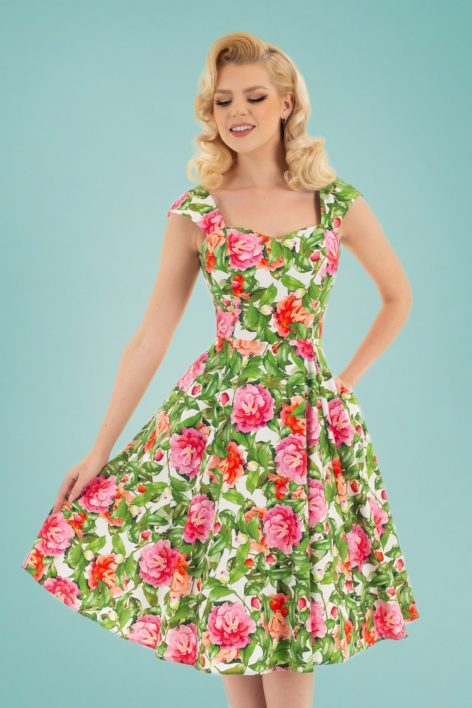 50s Penny Floral Swing Dress in Green and Pink