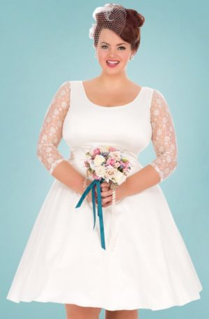 50s Phoebe Satin Wedding Dress in Ivory