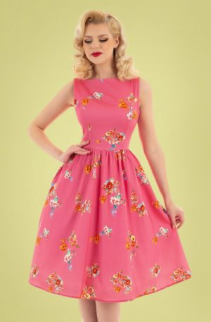50s Polly Floral Swing Dress in Pink