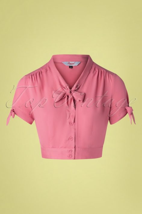 50s Pussy Crop Top in Rouge Pink