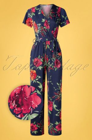 50s Quinty Floral Jumpsuit in Navy