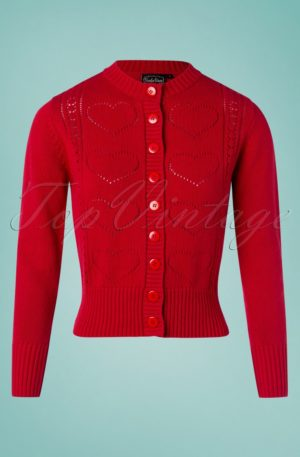 50s Regina Knitted Cardigan in Lipstick Red