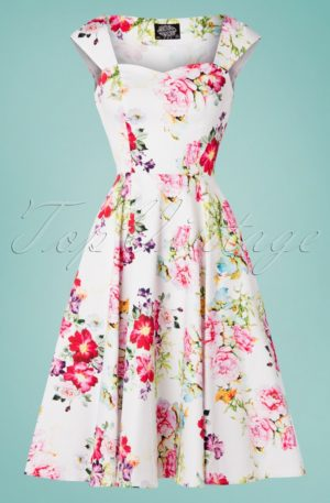 50s Rose Paradise Swing Dress in White