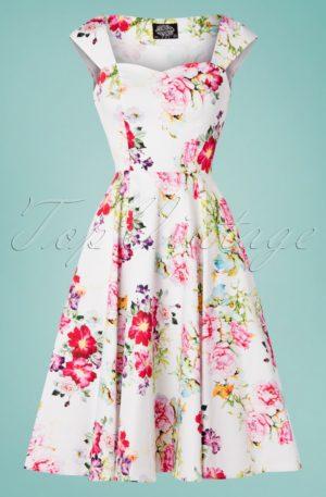 50s Rose Paradise Swing Dress in White