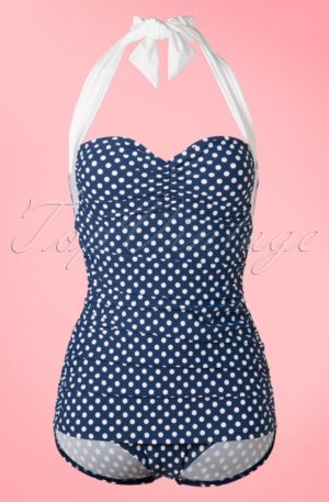 50s Sandy Frock One Piece Swimsuit in Navy