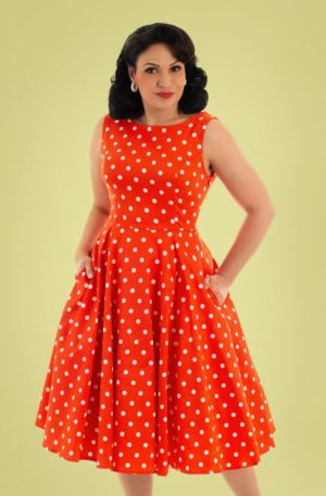 50s Sandy Polkadot Swing Dress in Red