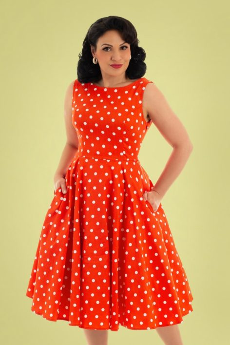 50s Sandy Polkadot Swing Dress in Red