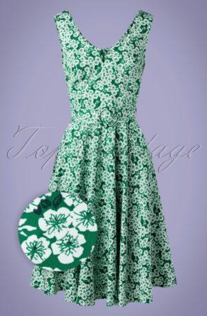 50s Selene Swing Dress in Green Floral