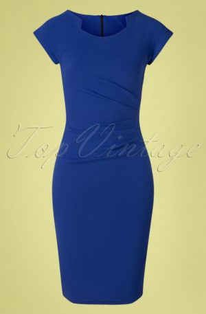50s Serenity Pencil Dress in Royal Blue