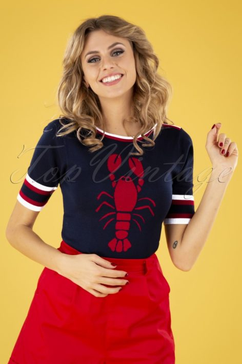 50s Shannon Snippy Top in Navy