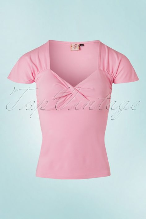 50s She Who Dares Top in Light Pink