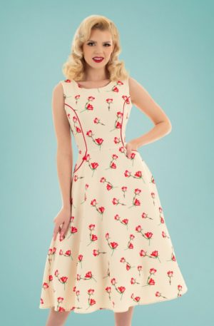 50s Sorella Summer Swing Dress in Cream