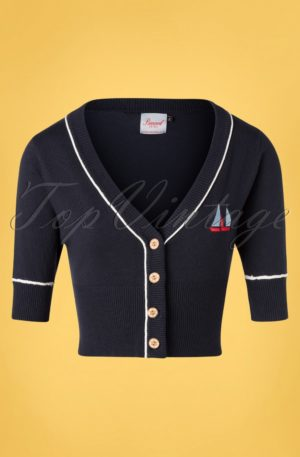 50s Summer Sail Cardigan in Navy