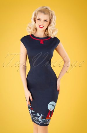 50s Summer Sail Pencil Dress in Navy