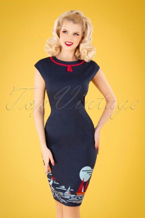 50s Summer Sail Pencil Dress in Navy