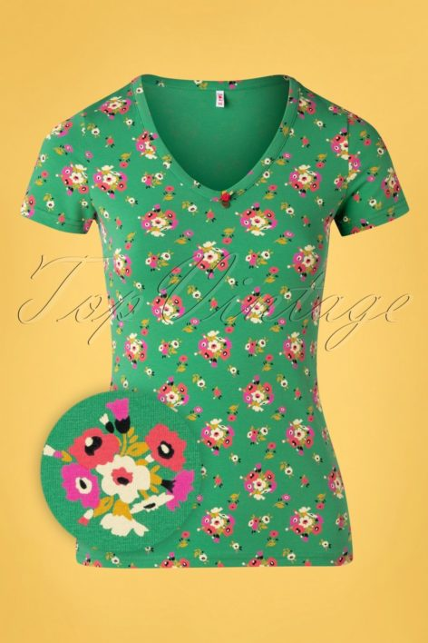 50s Sunshine Camp T-Shirt in Green Floral