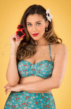 50s Sweet Cherry Bikini Top in Turquoise