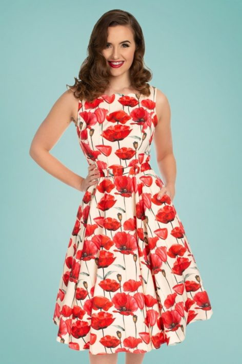 50s Sweet Poppy Swing Dress in Cream