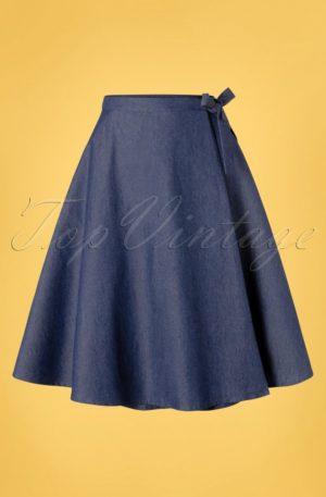 50s Sweet Sail Wrap Swing Skirt in Denim Blue